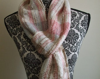 Hand Woven Scarf in Pink Blue and Brown