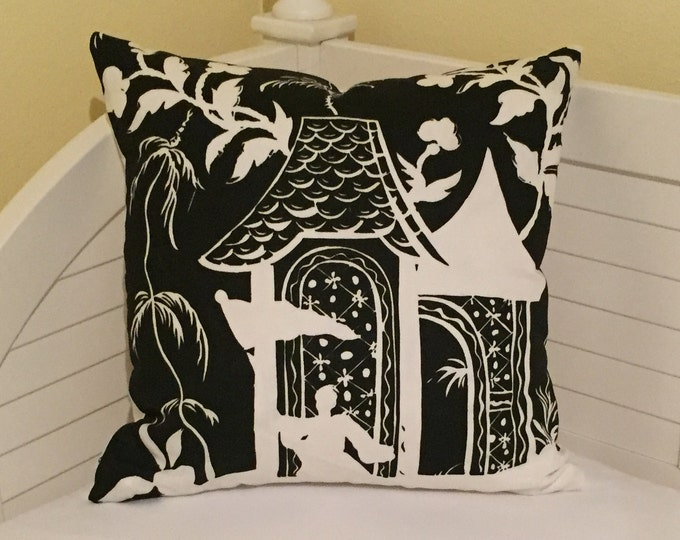SALE and FREE Shipping, Quadrille China Seas Lyford Black and White 20 x 20 Designer Pillow Cover