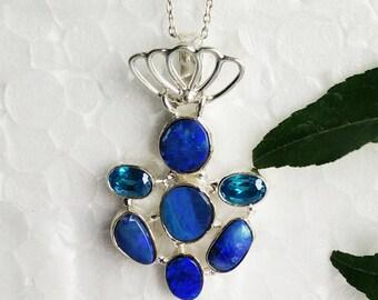 Beautiful AUSTRALIAN OPAL Gemstone Pendant - Birthstone Pendant - Fashion Beach Pendant - Handmade Pendant - Free Chain - Love Gift