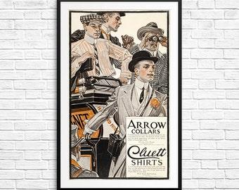 Clothing gift, Vintage menswear, Arrow Collars, Cluett Shirts, menswear ads, vintage magazine ads, antique ads, men's clothing, men's room