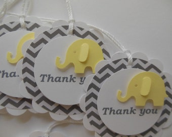Elephant Thank You Gift Tags - Yellow, Gray Chevron and White - Gender Neutral - Baby Shower - Birthday - Set of 6