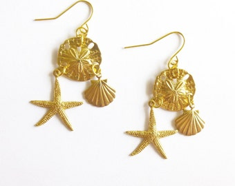 Beach Bride Earrings Gold Bridal Jewelry Bridesmaid Gifts Nautical Mermaid Starfish Seashell Sea Shell Sand Dollar Charm Wedding Accessories