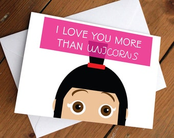 I love you more than unicorns card // despicable me, minions, agnes, disney, pixar, cute, card, valentines day, anniversary, birthday