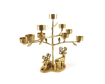 Vintage Brass Deer Candleholder - Woodlands Candle Holders - Hollywood Regency - Christmas - Fireplace Mantel - Cottage Cabin Candelabra