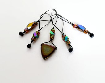 knitting stitch markers / geometric triangle iridescent / accessory gift / row counter tool / snag free stitchmarker / popular knitter gift