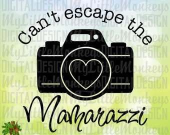 Baby SVG ~ Kids svg ~ Can't Escape the Mamarazzi ~ Camera svg ~ Baby Shirt svg ~ Commercial Use SVG ~ Cut File ~ Clipart ~ svg-dxf-eps-png