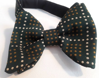 Retro Vintage bowtie Hunter green with mustard yellow and white mini dot pattern adjustable