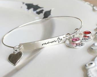 Mothers Bracelet . Name Bangle . Birthstone . Bangle Bracelet . Name Bracelet . Silver Bangle Bracelet . Handmade  . Custom Bracelet