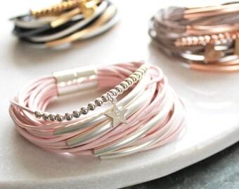 Multi Strand Leather Bracelet - Friendship Bracelet- Birthday Gift - Gift for her