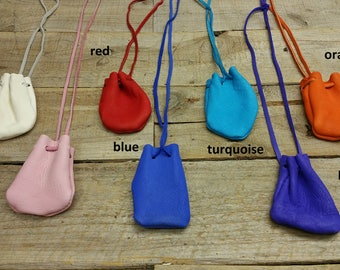 Deerskin leather pouch/ Medicine Bag, soft and supple C-10 Bright Colors