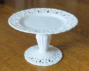 I. Godinger & Company White Cream Lace Porcelain Pedestal Cake Dessert Stand Plate Dish Compote