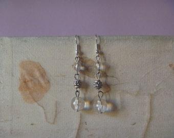 long dangle beaded earrings, ecofriendly pale dangle earrings