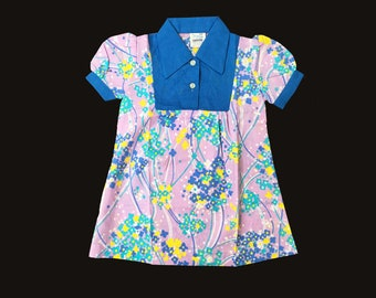 60's Blue/Purple Mod Pop Floral  Dress British Stock Size 18-24M and 2-3Y