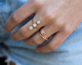 Opal Ring, Multi Stone Ring, October Birthstone Ring, Stack Ring, Gold Ring, Rose Gold Ring, Birthstone Ring, Three Stone Ring