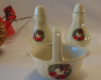 Holiday Salt and Pepper Shaker Set with BASKET