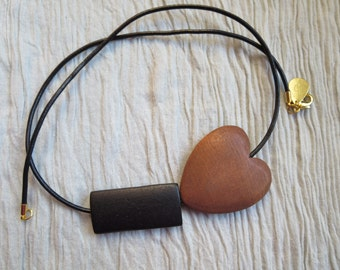 Black and Brown Heart Necklace, Black Leather Necklace, Geometric Necklace, Heart Necklace, Asymetrical Statement Necklace, Chunky Necklace