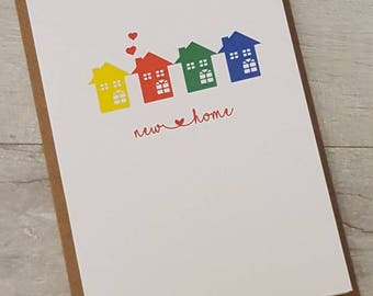Unique new home, congratulations, home is where the heart is card - bright colours - new home card - moving house card - first home card