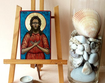 Saint Alexis icon, St Alexius of Rome handpainted icon, 6 x 3 1/2 inches