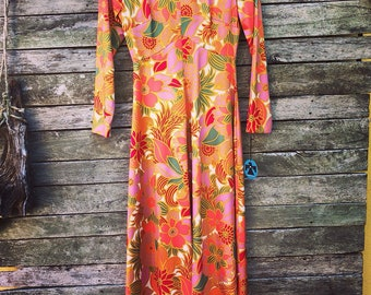 Amazing Italian 1970s 'Emilio Borghese' Orange, Lavender, Red and Green Floral High Neck Long Sleeve Dress