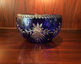 Gorgeous Vintage Cobalt Blue Bohemian Cut to Clear Garland Pattern Large Crystal Bowl