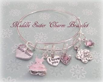 Sister Charm Bracelet, Middle Sister Gift, Silver Bangle Bracelet, Sister to Sister Jewelry Gift, Christmas Gift for Sister, Jewelry Gifts