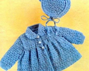 Vintage Crochet Pattern PDF  Baby Matinee Set  Jacket Bonnet   Layette Coat Hat