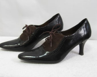 Vintage Ladies Sz 8 Dark Brown Suede and Patent Leather Pointy Toe Shoes - 1990's Tie Top Etienne Aignier Shoes