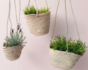 Hanging Basket    Hand Woven Palm Leaf Hanging Planter    Blumenampel    Boho Decor    Plant Pot Holder