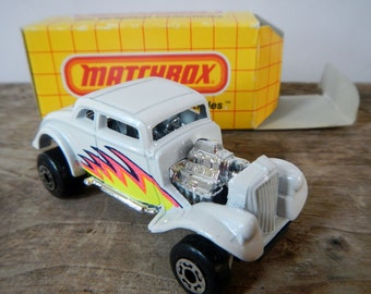 Vintage Matchbox Willy's Street Rod - No MB 69, 1990, white hot rod - NIB, new in box, Pro Street, exposed engine, fluorescent flames, toy