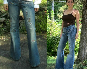 Denim Bell Bottom Jeans Ripped & Stitched Vintage 1990s Gasoline Brand