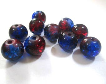 10 blue beads and Red Crackle Glass 8mm