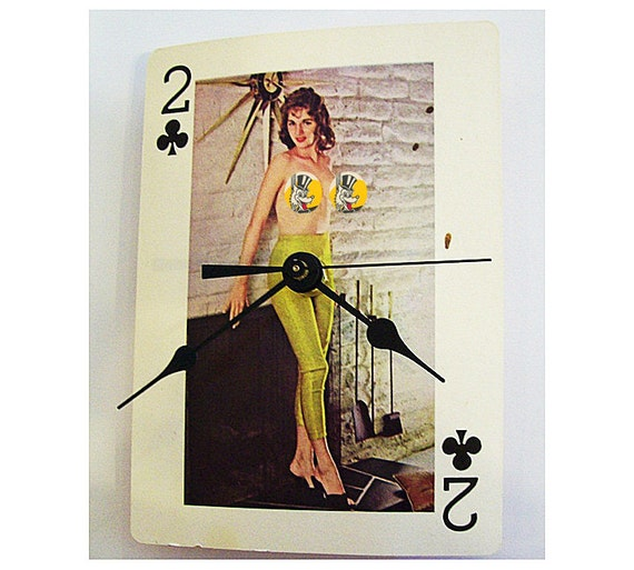 Items Similar To Pin Up Girl Clock Retro Vintage Nude Playing Card Rockabilly Girlie -9619