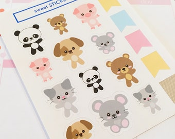 12 Kawaii Animal and 5 Flag Planner Stickers- Cute Stickers- perfect in your Erin Condren planner, Plum Planner, wall calendar or scrapbook