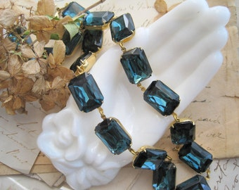"Navy blue statement necklace, Anna Wintour necklace, Sacred Cake, Art Deco jewelry. ""Montana Morning"""
