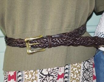 Belt Dark Brown with Gold Buckle, Brown Belt