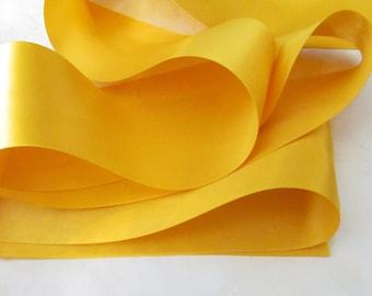 Dandelion Double Face Satin Ribbn / Satin Ribbon / Yellow Ribbon by the yard / Dandelion 662