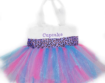 Tutu Bag, Leopard Tutu Tote Bag, Purple and Pink Leopard Ribbon with Monogram Name Embroidered on the Bag. Personalized Girl Dance Bag