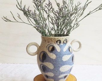 Ceramic Vase with Moon Phase Fern & White Gold Accents
