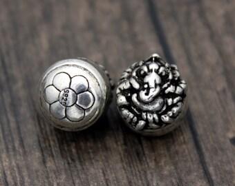 1PC Sterling Silver Ganesha Beads, Ganesh Spacer Beads, Garnesh, Lord Ganesha, Elephant God