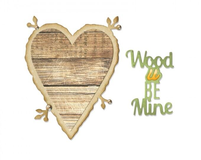 Sizzix Thinlits Die Set 6PK - Phrase, Wood U Be Mine by Jen Long 661135