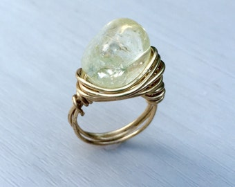 Ice Flake Quartz Wire Wrapped Ring