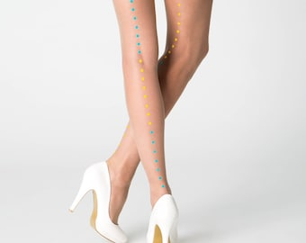 Summer tights / Milan tights with yellow-turquoise dotted line / nude tights / asymmetric patterned tights / summer tights / own design