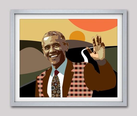 U.S President Barack Obama Waving Good Bye Pop Art Portrait, Living Room Art Decor, Pop Art Poster, 44 & 45th US President