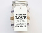SPREAD the LOVE Favor Stamp for Tags Wedding Favor Tags Shower Favor Vintage Wedding Custom Personalized Calligraphy Stamp