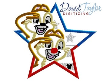 Patriotic Chip and Dale in Star - 4x4, 5x7, 6x10 and 8x8 in 9 formats - Applique - Instant Download - David Taylor Digitizing