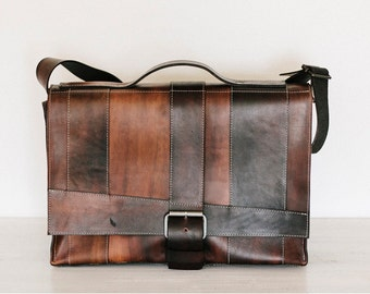 """Brown Leather Messenger Bag // """"strappy"""" by fullgive in deep brown"""