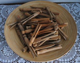 Vintage Wood Clothespins 50 Round and Square Top