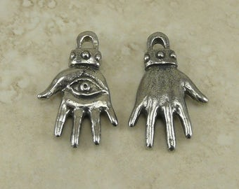 Hamsa Hand Green Girl Charm Pendant - Peace Protection All Seeing Eye Fatima Miriam Khamsa American Artist Made Lead Free Pewter Silver 497
