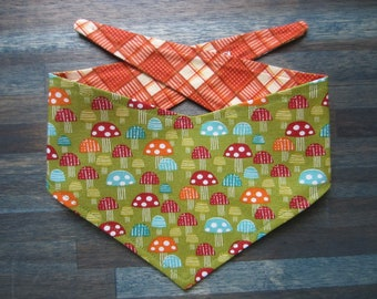 XS reversible tie on dog bandana - Mushrooms/orange plaid Kanine Kerchief