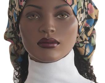 Dread Stirnband Schal Kopfbedeckung abstrakten Print Multi Farbe Dreadie Kopf Schal Streifen Chiffon Gebet Haircovering